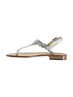 Vincenzo Ferrara - Silver Leather Flat Thong Sandal