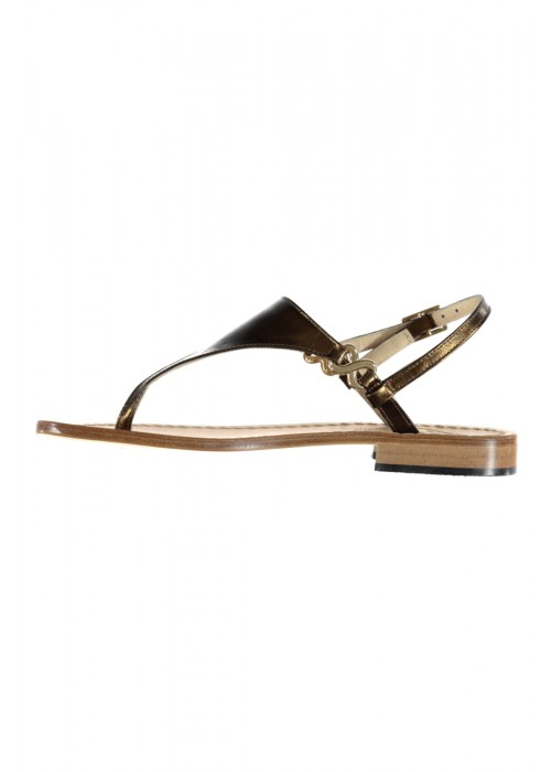 Vincenzo Ferrara - Bronze Leather Flat Thong Sandal