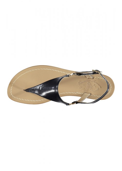 Vincenzo Ferrara - Navy Leather Flat Thong Sandal