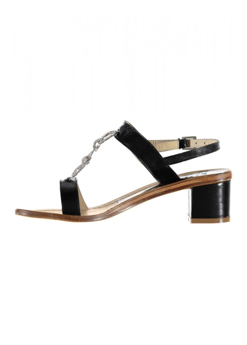 Vincenzo Ferrara - Leather Black Sandal On A Medium Heel With Rhinestone Detail