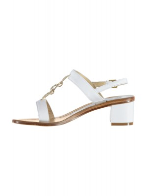 Vincenzo Ferrara - Leather White Sandal On A Medium Heel With Rhinestone Detail