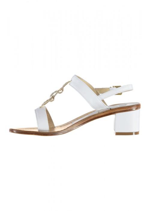 Vincenzo Ferrara - Leather White Sandal On A Medium Heel With Rhinestone Detail