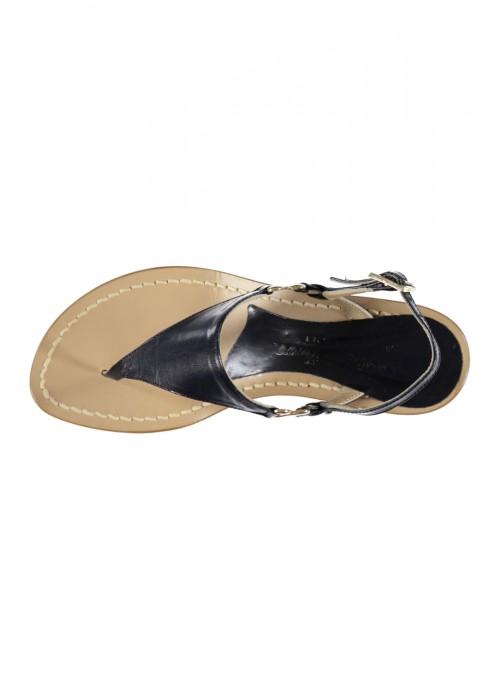 Vincenzo Ferrara - Navy Leather Thong On A Medium Heel