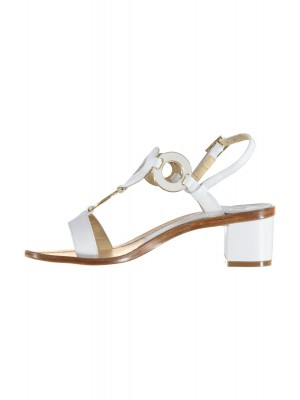 Vincenzo Ferrara -White Leather Sandal With Circle Detail and Medium Heel