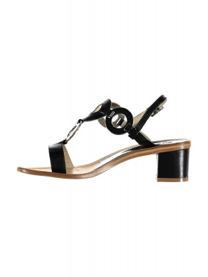 Vincenzo Ferrara - Black Leather Sandal On A Medium Heel With Circle Detail