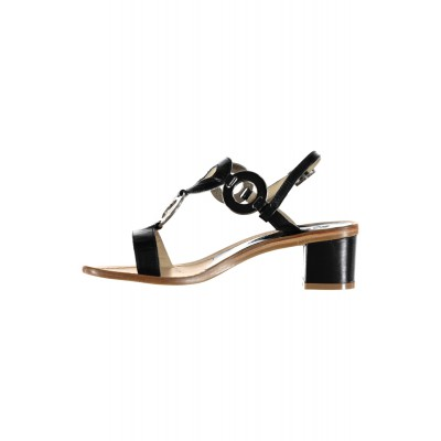 Vincenzo Ferrara - Navy  Leather Sandal On A Medium Heel With Circle Detail
