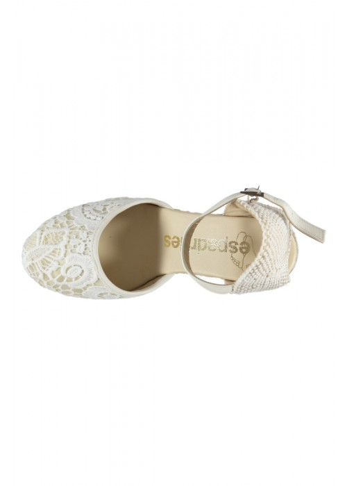 Espadrilles  - Cream High Heel Wedge Espadrille With Lace Detail