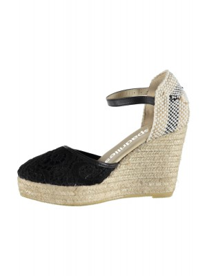 Espadrilles - Black High Heel Wedge Espadrille With Lace Detail