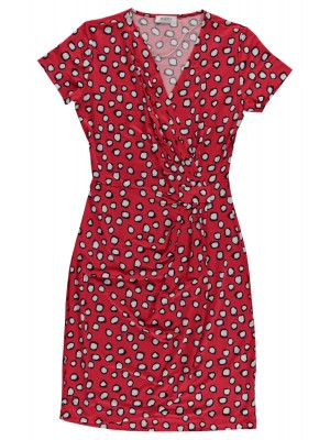 Malvin - 100% Viscose Wrap Dress with Polka Dot Detail