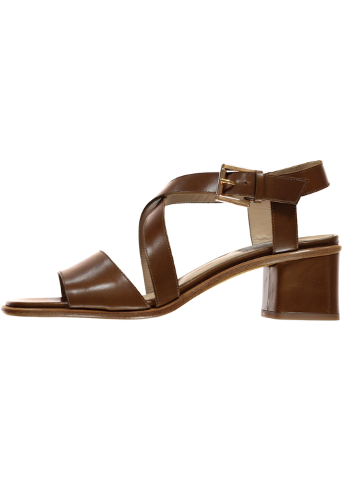 Fratelli Rossetti - Tan Leather Strappy Sandal On A Medium Heel