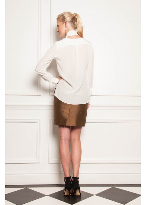 """Editore"" Cream Silk V-Neck Blouse With Removable Neck Tie"