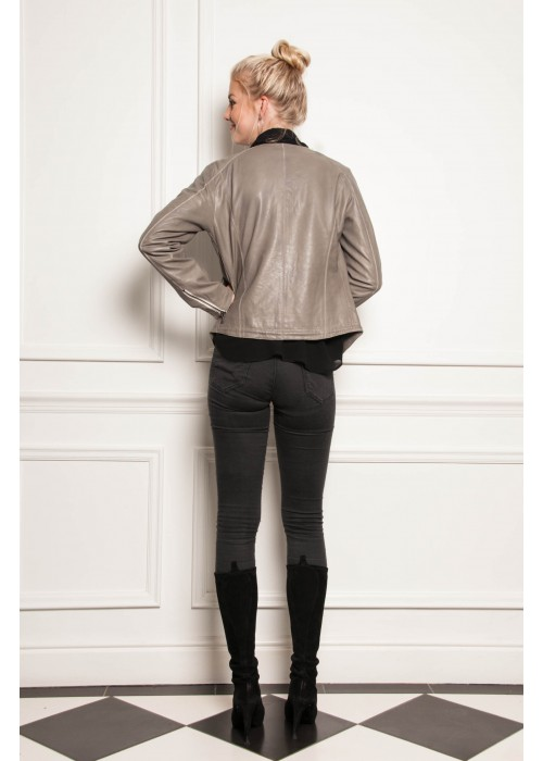 Malvin - Soft Leather Jacket in Taupe With Zip/Pocket Detail