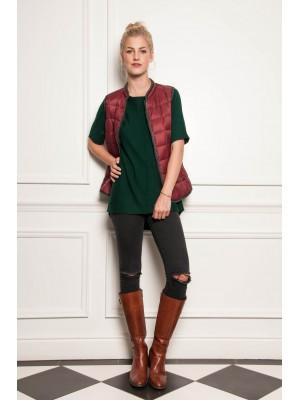 Malvin - Short Sleeve High/Low Knit In Bottle Green