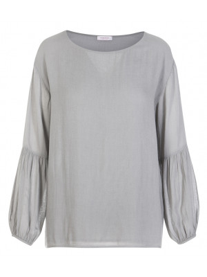 Rossopuro - Classic Grey Blouse With Balloon Sleeve