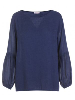 Rossopuro - Classic Royal Blue Blouse With Balloon Sleeve