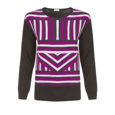 Rossopuro - Soft Silk Blouse With Deep Pink/Black/Grey Stripes