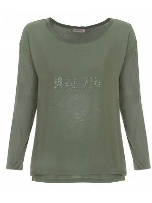 "Malvin - Green Top With ""Malvin"" Writing & Mesh Overlay"