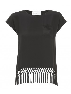 Malvin - Black Silk T-Shirt With Fringe and Pocket Detail