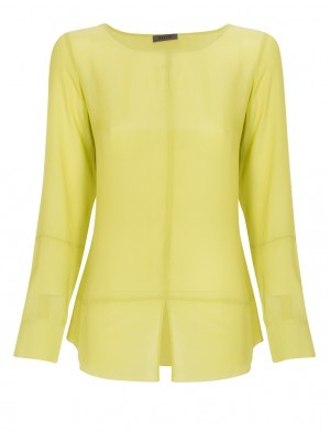 Malvin - Round Neck Blouse With Front Slit Detail In Lime