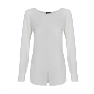 Malvin - Round Neck Blouse With Front Slit Detail in Cream