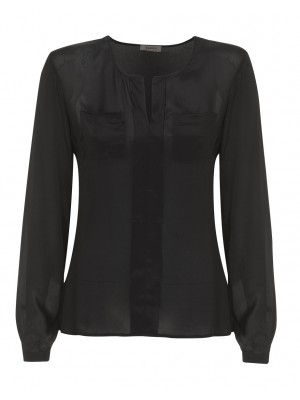 Malvin - Classic Black V - Neck Blouse With Pocket Detail