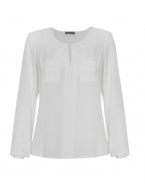 Malvin - Classic Cream V - Neck Blouse With Pocket Detail