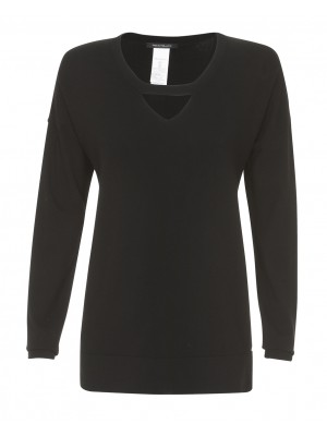 """Oleum"" -  Black Knit With Cut Out Detail At Neckline"
