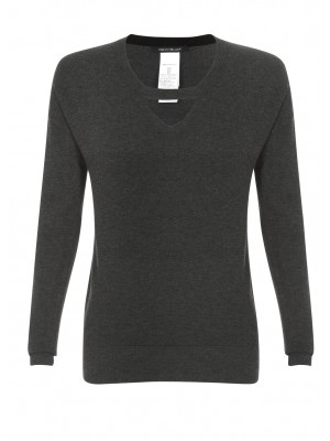 """Oleum"" Charcoal Knit With Cut Out Detail At Neckline"