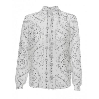 Malvin - Classic Cream Silk Shirt With Black Print