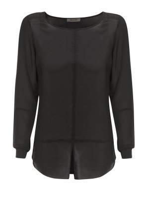 Malvin - Round Neck Blouse With Front Slit Detail In Black