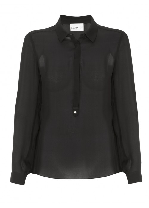 Malvin - Classic Silk Shirt In Black