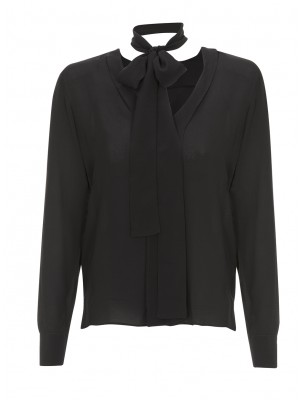 """Editore"" Black Silk V-Neck Blouse With Removable Neck Tie"