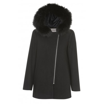 Malvin - Black Coat With Raccoon Fur Hood