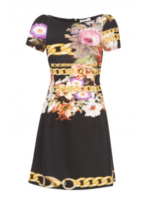 Sonia Fortuna - A- Line Printed Dress With Capped Sleeve