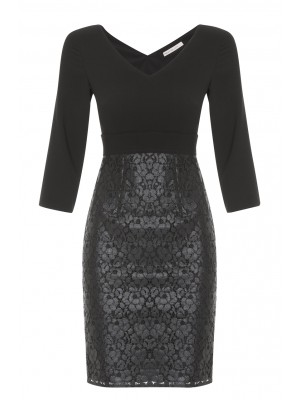 """Maldive"" - Elegant Black Fitted Dress With Lace Bottom Half"