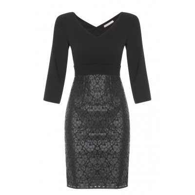 """Maldive"" - Elegant Black Fitted Dress With Lace Bottom Half"