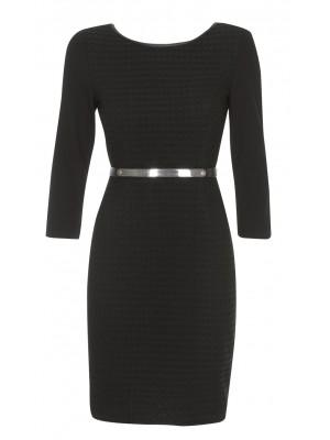 """""""Maestoso""""-  3 Quarter Sleeved Black Dress With Removable Gold Metal Belt"""