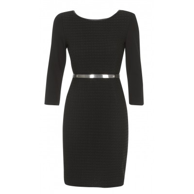 """Maestoso""-  3 Quarter Sleeved Black Dress With Removable Gold Metal Belt"