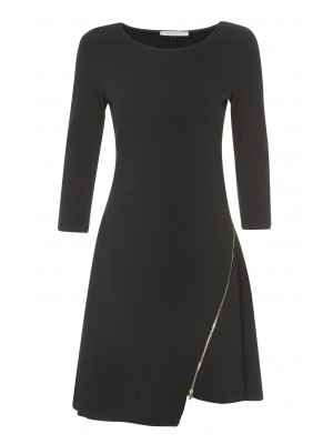 """Ravalle"" A - Line Black Dress With Gold Zip Down The Side"
