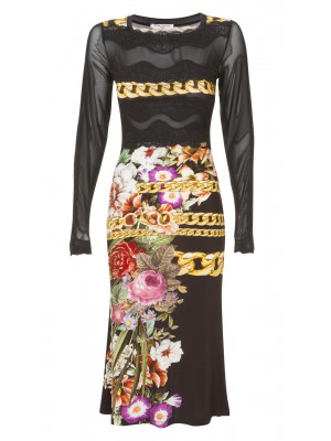 Sonia Fortuna - Evening Mid Calf Long Sleeve Dress