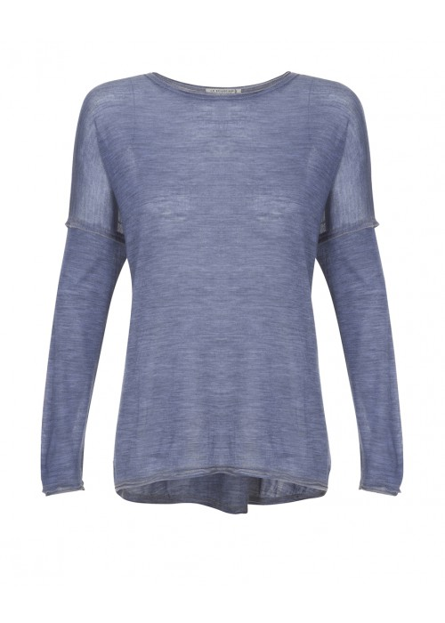 Lo Sciarpino - Light Wool/Silk Composition High/Low Jumper In Blue