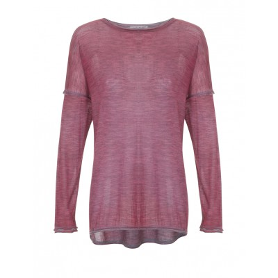 Lo Sciarpino - Light Wool/Silk Composition High/Low Jumper In Red