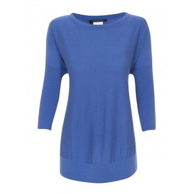 """Olmeto"" Silk & Cotton 3 Quarter Sleeved Knit In Blue"
