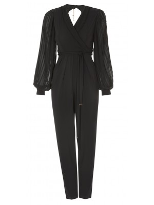 Sonia Fortuna -  Elegant Jumpsuit With Removable Sash And Pleated Long Sleeve