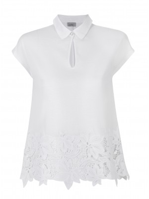 "Marella - ""Ciriliam"" 100% Cotton Tee With Flower Cut Out Detail"