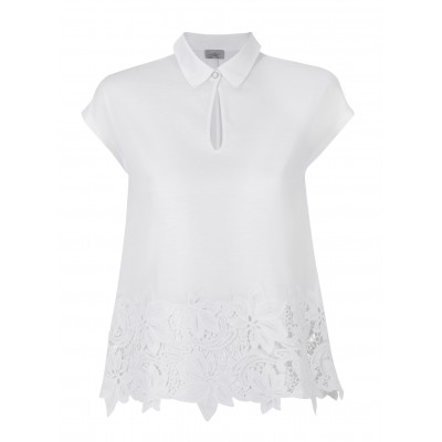 """Marella - """"Ciriliam"""" 100% Cotton Tee With Flower Cut Out Detail"""