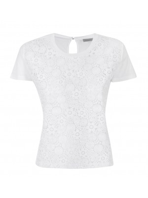 "Marella - ""Mano"" 100% Cotton Tee With Flower Cut Out Overlay"