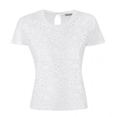 """Marella - """"Mano"""" 100% Cotton Tee With Flower Cut Out Overlay"""