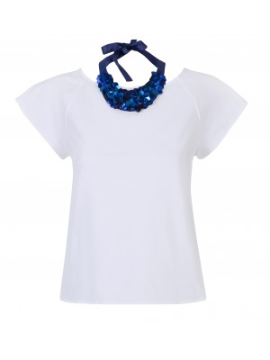 "Marella - ""Polka"" Open Back Tee With Bow Detail And Removable Neck Piece"
