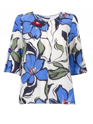 "Marella - ""Etoile"" 100% Silk Tunic With Big Flower Print"